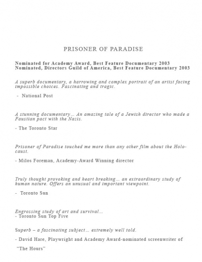 2003 - Reviews of Prisoner of Paradise